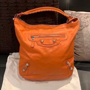 Authentic Balenciaga Silver Day Orange Hobo